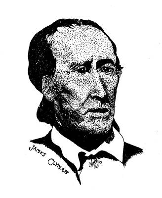 Pen Drawing - James Clyman by Clayton Cannaday