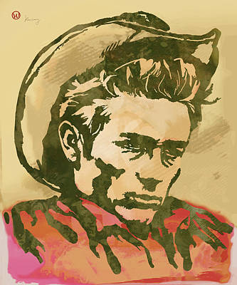 Marilyn Monroe Drawing - James Dean  -  Etching Pop Art Poster by Kim Wang