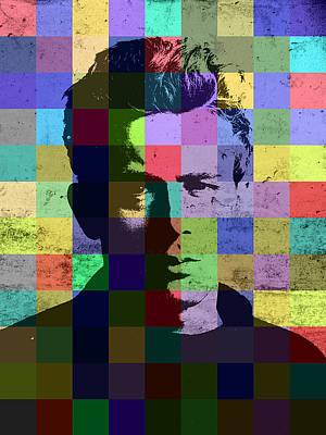 Actors Mixed Media - James Dean Actor Hollywood Pop Art Patchwork Portrait Pop Of Color by Design Turnpike