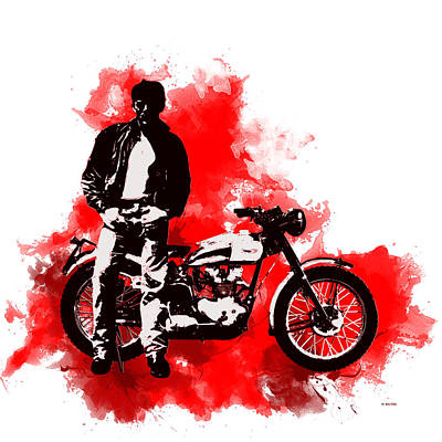 Digital Art - James Dean And Triumph by Marlene Watson