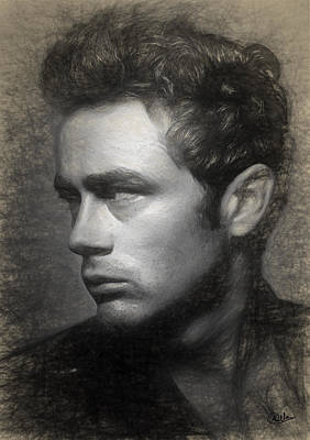 James Dean Drawing Print by Quim Abella