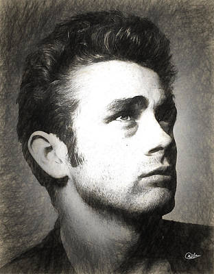 James Dean Drawn Print by Quim Abella