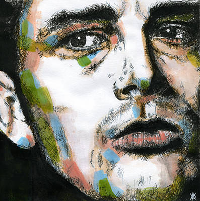 Soulful Eyes Drawing - James Dean by KM Paintings
