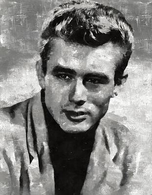 Celebrities Royalty-Free and Rights-Managed Images - James Dean by Mary Bassett