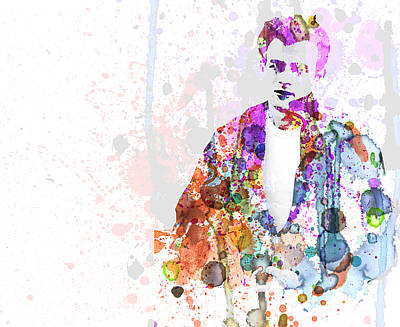 Famous Watercolor Painting - James Dean by Naxart Studio