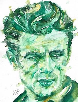 Painting - James Dean - Watercolor Portrait.4 by Fabrizio Cassetta