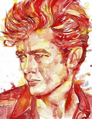 Painting - James Dean - Watercolor Portrait.5 by Fabrizio Cassetta