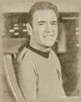 Wizard Drawing - James Doohan, Scotty, Star Trek by Frank Falcon