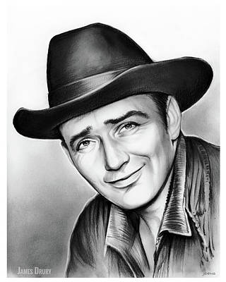 Drawing - James Drury by Greg Joens