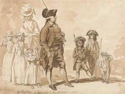 James Gandon And Family Art Print by Paul Sandby