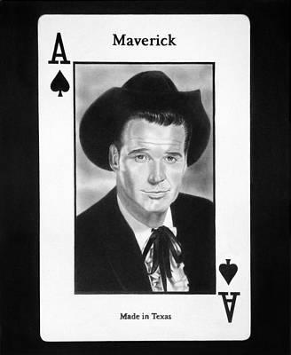 Ace Of Spades Drawing - James Garner As Maverick by Nicole I Hamilton