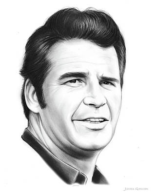 Landmark Drawing - James Garner by Greg Joens