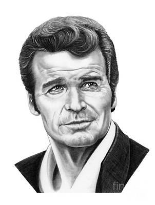 Famous People Drawing - James Garner by Murphy Elliott