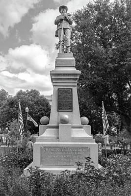 James H. Berry Confederate Statue - Bentonville Town Square Bw Art Print