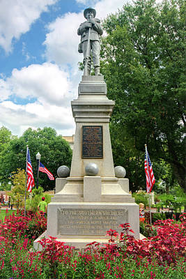 Photograph - James H. Berry Confederate Statue - Bentonville Town Square by Gregory Ballos