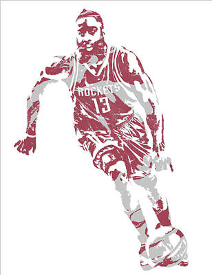 Mixed Media - James Harden Houston Rockets Pixel Art 21 by Joe Hamilton