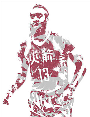 Mixed Media - James Harden Houston Rockets Pixel Art 22 by Joe Hamilton