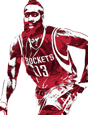 Basket Ball Mixed Media - James Harden Houston Rockets Pixel Art 4 by Joe Hamilton