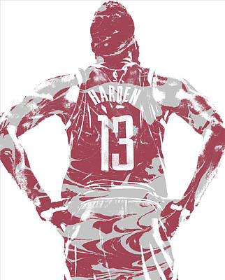 Mixed Media - James Harden Houston Rockets Pixel Art 50 by Joe Hamilton