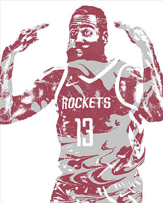 Mixed Media - James Harden Houston Rockets Pixel Art 51 by Joe Hamilton