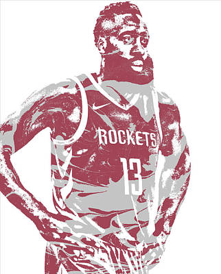 Mixed Media - James Harden Houston Rockets Pixel Art 52 by Joe Hamilton