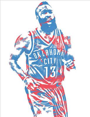 Oklahoma Mixed Media - James Harden Oklahoma City Thunder Pixel Art 1 by Joe Hamilton