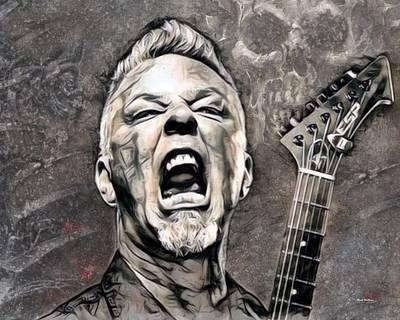 Heavy Metal Digital Art - James Hetfield Illustration by Scott Wallace