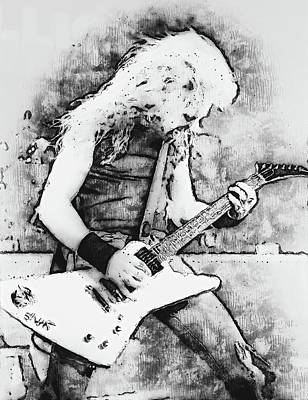 Recently Sold - Music Paintings - James Hetfield - Watercolor 10 by AM FineArtPrints