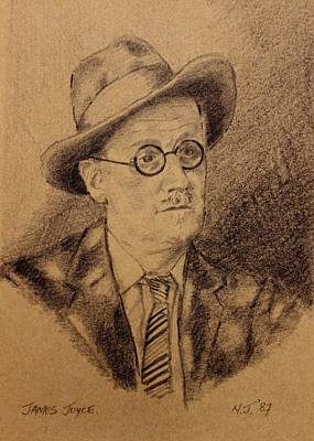 Greetings Card Drawing - James Joyce by John  Nolan