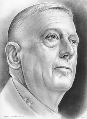 Secretaries Drawing - James Norman Mattis by Greg Joens