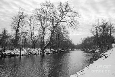 Photograph - James River Winter Grayscale by Jennifer White