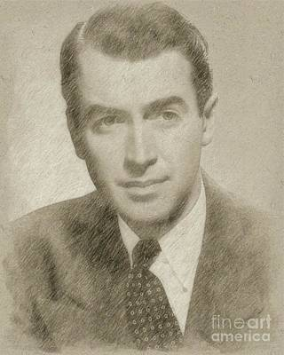 Star Trek Drawing - James Stewart Hollywood Actor by Frank Falcon