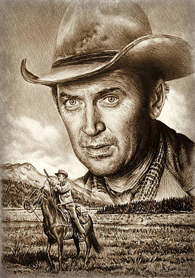 Drawing - James Stewart The Far Country by Andrew Read