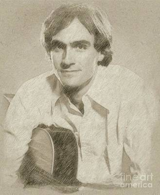 Musicians Drawings Rights Managed Images - James Taylor Musician Royalty-Free Image by Esoterica Art Agency