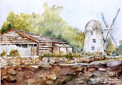 Painting - James Town Wind Mill, Ri by Madie Horne