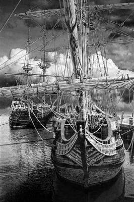 Photograph - Jamestown Harbor With The Three Ships The Susan Constant, Godspeed, Discovery by Randall Nyhof