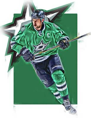 Jamie Benn Dallas Stars Oil Art Series 1 Art Print by Joe Hamilton