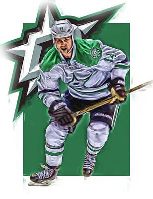 Mixed Media - Jamie Benn Dallas Stars Oil Art Series 2 by Joe Hamilton