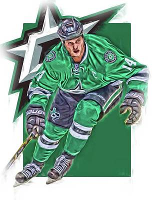 Mixed Media - Jamie Benn Dallas Stars Oil Art Series 3 by Joe Hamilton