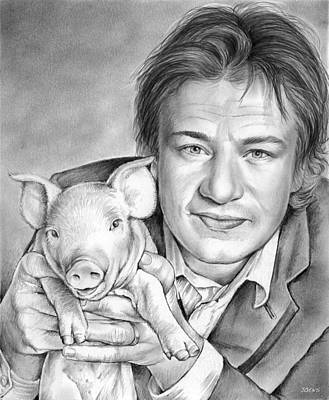 Cookbooks Drawing - Jamie Oliver by Greg Joens