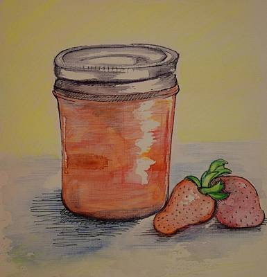 Strawberry Mixed Media - Jammin' by Anne Seay