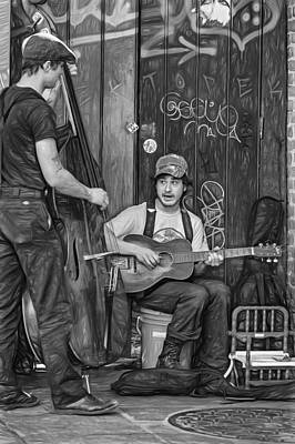 Streetscape Digital Art - Jammin' In The French Quarter 2 - Paint Bw by Steve Harrington