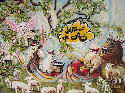 Painting - Chloe.the  Flying Lamb Productions      Jammin' Music At The A Cafe by Sigrid Tune