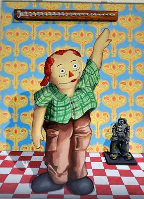 Checkerboard Floor Painting - Jan Got Me A Glass Cane by George Palovich