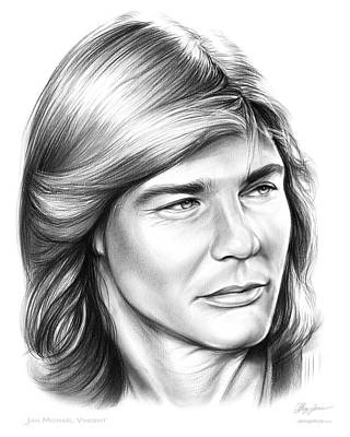 Helicopter Drawing - Jan Michael Vincent by Greg Joens