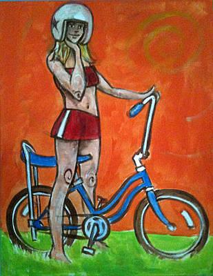 Girl On Bike Painting - Jan On Bike by Jeff Troldahl