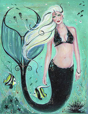 Mermaid Tail Painting - Janae Mermaid by Renee Lavoie
