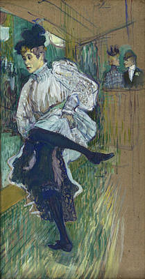 Bar Painting - Jane Avril Dancing by Henri de Toulouse-Lautrec