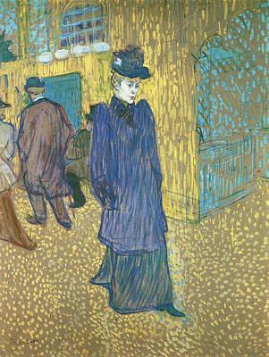 Jane Avril Leaving The Moulin Rouge Art Print by Henri de Toulouse-Lautrec