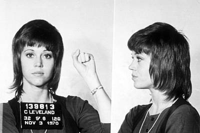 Jail Wall Art - Painting - Jane Fonda Mug Shot Horizontal by Tony Rubino